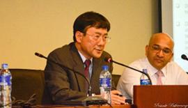 Prof. Paul Tae-Woo Lee addressing the gathering. Council Member, CILT, Ibrahim Saleem is also in the picture.