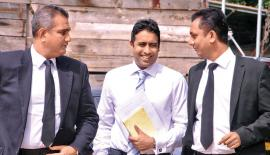 Arjun Aloysius with his lawyers