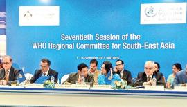 Health Minister Dr. Rajitha Senaratne in conversation with WHO Regional Director for  South-East Asia Dr. Poonam Khetrapal Singh during the session.