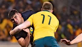 Argentina's Pablo Matera (L) is tackled by Australia's Reece Hodge (R) during the Rugby Championship match between Australia and Argentina -AFP