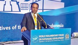 Deputy Speaker Thilanga Sumathipala addressing the World Parliamentary Forum on 'Sustainable Development, Achieving the 2030 Agenda through inclusive Development' in  Indonesia recently
