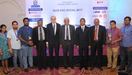 The Bank of Ceylon 'C' team Dhanushka Sumathirathne - team leader, Ms. Kaushalya Wanniarachchi, Sachith Gurugamage, Supun Liyanage and Chathura Athukorala with the Chief Guest, Governor, Central Bank of Sri Lanka Dr.Indrajit Coomaraswamy (center). The Bank of Ceylon's Deputy General Manager Corporate and Offshore Banking- Mr. D.P.K. Gunasekera, Mr.Parama Dharmawardene and Mr. Ranjith Haputhanthri are also in the picture.