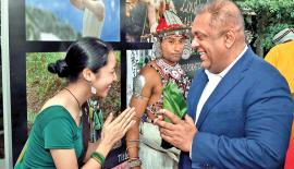 Minister Mangala Samaraweera being welcomed at the Film Festival