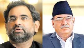 [Left] Pakistan Prime Minister Shahid Khaqan Abbasi , [Right] Napal Prime Minister Sher  Bahadur Deuba