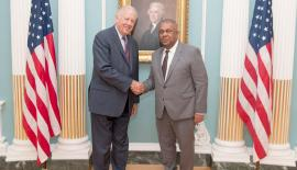 Finance Minister Mangala Samaraweera with the US Under Secretary for Political Affairs, Ambassador Thomas Shannon