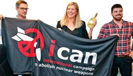Nuclear disarmament group ICAN coordinator Daniel Hogstan, executive director Beatrice Fihn (centre) and her husband Will Fihn Ramsay after ICAN won the Nobel Peace Prize for its decade-long campaign to rid the world of the atomic bomb
