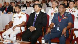 Navy Commander Vice Admiral Travis Sinniah, with State Minister of Defence Ruwan Wijewardena and SLAF Commander Air Marshal Kapila Jayampathi at the opening event
