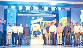 At the launch of Tata engine oil for Tata vehicles - From left: Deputy General Manager, Sales, Tata Motors, Rahul Nazreth, Assistant Vice President,  Finance, Lanka IOC, Gourav Jain, Head, Customer Care, Sri Lanka, Tata Motors, Himanka Goswami, General Manager, Tata Motors, Madhu Singh, Group CEO, DIMO, Gahanath Pandithage, Managing Director, Lanka IOC, Shyam Bohra, Chairman and Managing Director, DIMO, Ranjith Pandithage, Senior Vice President, Lube Marketing and Production, Lanka IOC, B.B. Patra, Director