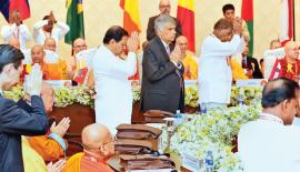 President Maithripala Sirisena and Prime Minister Ranil Wickremesinghe  at the Buddhist Summit                                                                                                 Pic: Saman Sri Wedage