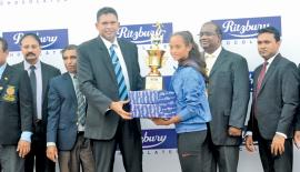 Best Female Athlete S. H.Sadini Kavisha (Vijitha Madya Maha Vidyalaya, Dickwella) receiving her award