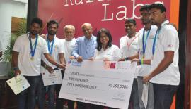 Team Nations Trust Bank with the winners of Nations Trust Bank FinTech Hack 2017 - 'Tech Devs' from the University of Kelaniya