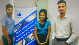 Jobpal.lk Business Development Executives Chamara Sanjaya and Dennam Gurugamage with Programme Manager Reshali Balasubramaniam.