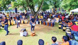 Drum Circle showcase their talents with the participation of spectators.