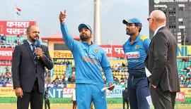 Rival captains Rohit Sharma and Thisara Perera.