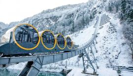 The Schwyz-Stoos funicular in the Alpine resort of Stoos.  Pic: Urs Flueeler/EPA