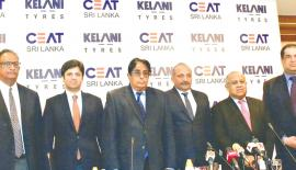 (From left) Rohan Fernando - Executive Director CEAT Kelani Holdings, Anant Goenka - MD CEAT Limited, India, Chanaka De Silva - Chairman CEAT Kelani Holdings, Vijay Gambhire - MD/CEO CEAT Kelani Holdings, Tilak de Zoysa - Vice Chairman, CEAT  Kelani Holdings and Ravi Dadlani – Vice President Sales, Marketing & Exports CEAT Kelani Holdings at the press conference. (Pic: Vipula Amarasinghe)