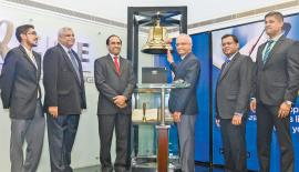 At the Ringing of the Opening Bell ceremony. From left: Shehan Cooray, Deva Ellepola,  Rajeeva  Bandaranaike,Sumith Arangala, K. Maheshwaran and Dilshan  Wirasekara
