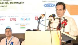 Chamber of Commerce and Industry of Yarlpanam (CCIY) Chairman   V. K. Vignesh at the launch of Jaffna International Fair 2018.