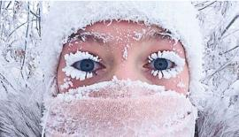 Temperatures have become so cold in the Siberian region of Yakutia that people's eyelashes have started to freeze when they venture outside