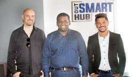 The Out Smart Hub team partners, Rob Willcox, Roshan Milinda and Lasantha Wickramasinghe.