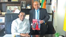Premier Ceylon Hotels and Hospitality Vice President/CEO Jagath Wijesekara with Tourism Development Minister John Amaratunga.