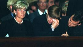 Princess Diana and Elton John at their friend Gianna Versace's funeral on July 22, 1997.