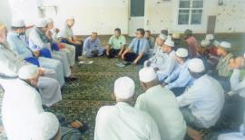 The meeting of the Lajnathush Shazuli Association, Kattankudy in progress with Dr. M.S.M. Jabir (in tie), Dr. Fahmy Ismail and Thalaath Ismail in the picture.