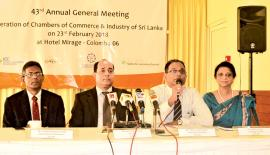 The headtable at the 43rd Annual General Meeting of the Federation of Chamber of Commerce of Sri Lanka which was held in Colombo recently.. PIC: VIPULA AMERASINGHE