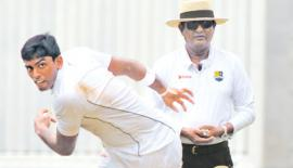 Kalana Perera of S. Thomas' College bowls during a splendid performance that brought him five wickets against Royal College  (Picture by Susantha Wijegunasekera)