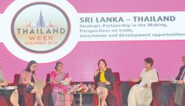 Jittima Nakamano Commercial Counselor and Director of Thai Trade Centre Chennai India, Chutima Eamchotchawalit Deputy Governor of Thailand Institute of Scientific and Technological Research, a representative from the Ministry of Development Strategies and International Trade-Sri Lanka, Chulamanee Chartsuwan Thai Ambassador to Sri Lanka and Nanadana Ekanayake CEO of Siam City Cement (Lanka) Ltd at the seminar. Pic: Thushara Fernando