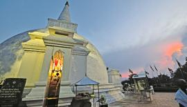 Somawathi Chaitya stands majestically at dusk