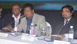 The head table: (From left): Deputy Chairman Aravinda de Silva, Chairman Nalin Welgama and Head of International Operations, AFS (South Asia), Sanjay Jadhav. Pic: Vipula Amarasinghe
