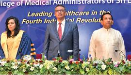 WHO Director General Dr. Tedros Adhanom Ghebreyesus with Minister Rajitha Senaratne and Dr. Sujatha Senaratne