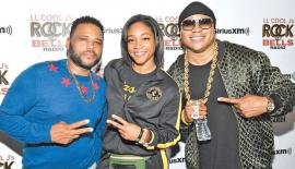 "Triple threat! The three stars get together to celebrate  the launch of LL Cool J's new SiriusXM channel, ""Rock the Bells Radio,""  in L.A."