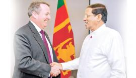 President Maithripala Sirisena with Britain's Secretary of State for International Trade, Liam Fox  in London.