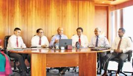 From left: Assistant Vice President, Finance and Planning, Suvendrini Muthukumarana, Vice President, Treasury, Niran Mahawatte, Vice President, Corporate Banking, Buwanaka Perera, Director/ Chief Executive Officer, Dimantha Seneviratne, Group Chief Financial Officer, Finance and Planning, Lalith T. Fernando, Vice President, Personal Banking and Branch Network Management, Sanjaya Perera, Vice President, SME, Middle Markets and Business Banking, Indika Ranaweera, Assistant Vice President, Finance, Strategic P