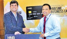 At the launch of the new business card. From left: Mastercard Country Manager, Sri Lanka and Maldives, R.  B. Santosh Kumar with HNB Managing Director/CEO, Jonathan Alles.