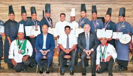 Seen here are the winners of both competitions flanked by (seated L-R) Manesh Fernando, General Manager Hilton Colombo, Krishantha Cooray, Chairman Hotel Developers PLC (Owning Company) and Paul Hutton, VP Operations SEA for Hilton and Kazi Hassan, Executive Chef (standing center).