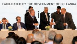 Prime Minister Ranil Wickremesinghe at the launch of the dairy project.