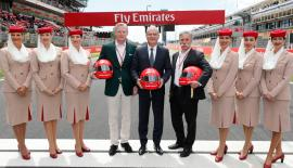 From left: Sean Bratches (Managing Director, Commercial Operations at Formula One), Thierry Antinori (Emirates Executive Vice President and Chief Commercial Officer) and Chase Carey, Chief Executive Officer of the Formula One Group