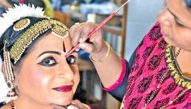 Dancer Malathi getting ready for her arangetram in Chennai on Friday.  (Photo: V. Ganesan)