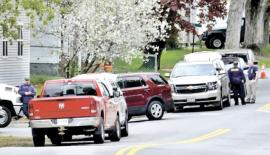 Homes around Summer and Pleasant streets in Skowhegan were evacuated while police from several agencies investigated homeowner Philip Ewing at nearby 15 Summer St. after explosive-making materials were discovered Sunday.                                                                              Pic. David Leaming