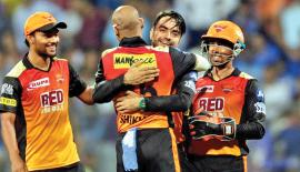 Players from the Sunrises Hyderabad team celebrate at the IPL 2018. They have entered today's final against Chennai Super Kings