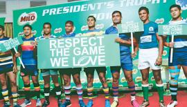 The eight school rugby captains: From left- Javad Zarook (St. Peter's College), Avishka Shiek (Trinity College), Shameesha Vihiranga (St. Joseph's College), Kavinda Amarakoon (St. Anthony's College), Dinesh Dawlagoda (Maliyadeva College), Tharindu Walgampola (Kingswood College), Manelka Ruberu (Isipathana College) and Dayan Sabar (Wesley College) plead for sanity under a persuasive banner (Picture by Samantha Weerasiri)