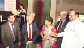From left: Industry and Commerce Minister Rishard Badurdeen, Minister of International Trade Malik Samarawickrama, Chairperson of EDB Ms Indira Malwatte, Chairman of Boat Building Technology Improvement Institute Neil Fernando and Tourism Minister John Amaratunga at the launch event of Boat Show Sri Lanka 2018. Pic: Saliya Rupasinghe