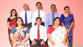 Seated from left: Managing Director/Coordinating Principal Anitra Perera, Chairman Prof. (Eng) G L Dharmasri Wickramasinghe and Executive Director Kumari Hapugalle Perera. Standing from left: Directors Pradeepa Kondagama, Prashanthalal de Alwis PC, Brig. Mahendra Wijeratne, A. R. Abdul Azeez and Dr. Sashien Perera