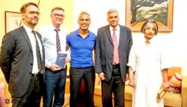 Prime Minister Ranil Wickremesinghe and Maithree Wickremesinghe at the readings. Ambassador of France Jean-Marin Schuh is at extreme left.