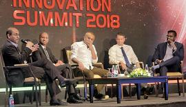 The panel discussion in progress: From left - Professor of Management at Cornell University, Prof. Soumitra Dutta, Founder and Chairman of Kapruka.com, Dulith Herath, President and CEO of CodeGen, Dr. Harsha Subasinghe, Co-Founder of Venture Frontier Lanka, Heminda Jayaweera, Moderator Anushka Wijesinha.