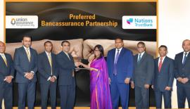 The senior management of Union Assurance and Nations Trust Bank at the preferred partnership  agreement signing between two companies.