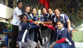The champion Meththa team comprising Udayangani, Shiromi, Dilani, Sadali, Hansi, Nisansala and Jayathri pose with their trophy presented by distinguished old girl Rohini Yapa